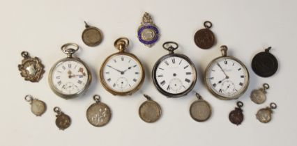 A selection of pocket watches and fob medallions, to include; a silver coloured Everite open face