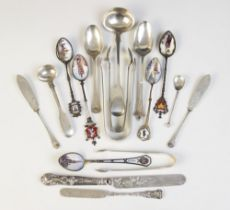 A selection of silver and silver coloured cutlery, to include; a Victorian fiddle pattern silver