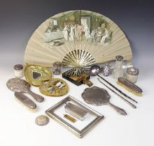 A selection of dressing tableware and accessories, to include; an Edwardian silver mounted cut glass