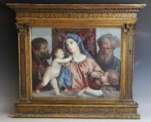 An elaborate painted gesso renaissance style frame, 19th century, the cornice with continuous trompe