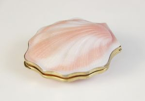 A Russian silver gilt coloured glass shell form compact, the white and pink exterior with shell