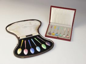 A cased set of six Danish silver and enamelled coffee spoons, each plain polished with guilloche