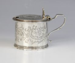 A Victorian silver wet mustard, George John Richards, London 1854, of drum form with scrolling