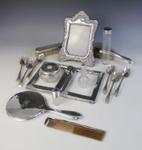 A selection of silver mounted and silver coloured tableware and accessories, to include; an