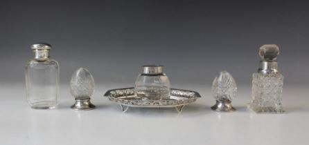An Edwardian silver cut glass inkwell by James Dixon & Sons, Sheffield 1904, the octagonal base with