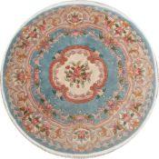 TAPPETO PECHINO ABOUSSON DESIGN trama ed ordito in cotone, vello in lana. Cina XX secolo - Ø cm