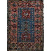 TAPPETO KAZAK trama ed ordito in cotone, vello in lana (usure). Armenia prima metà XX secolo - cm