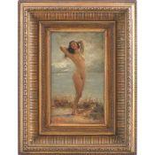 """GUGLIELMO ZOCCHI (Firenze 1874 - post 1920) Olio su tavoletta """"Nudo femminile"""", firmato in basso a"""