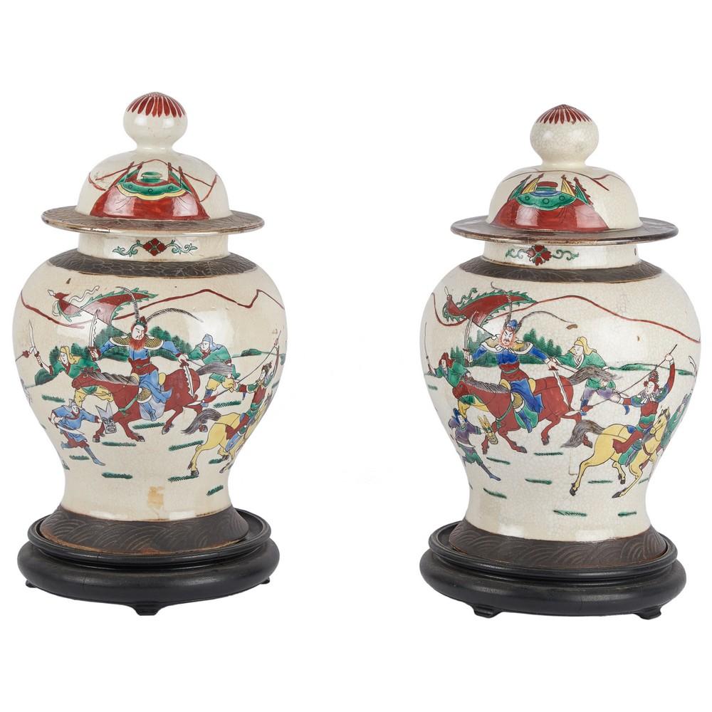 COPPIA POTICHE in porcellana decorata e dipinta