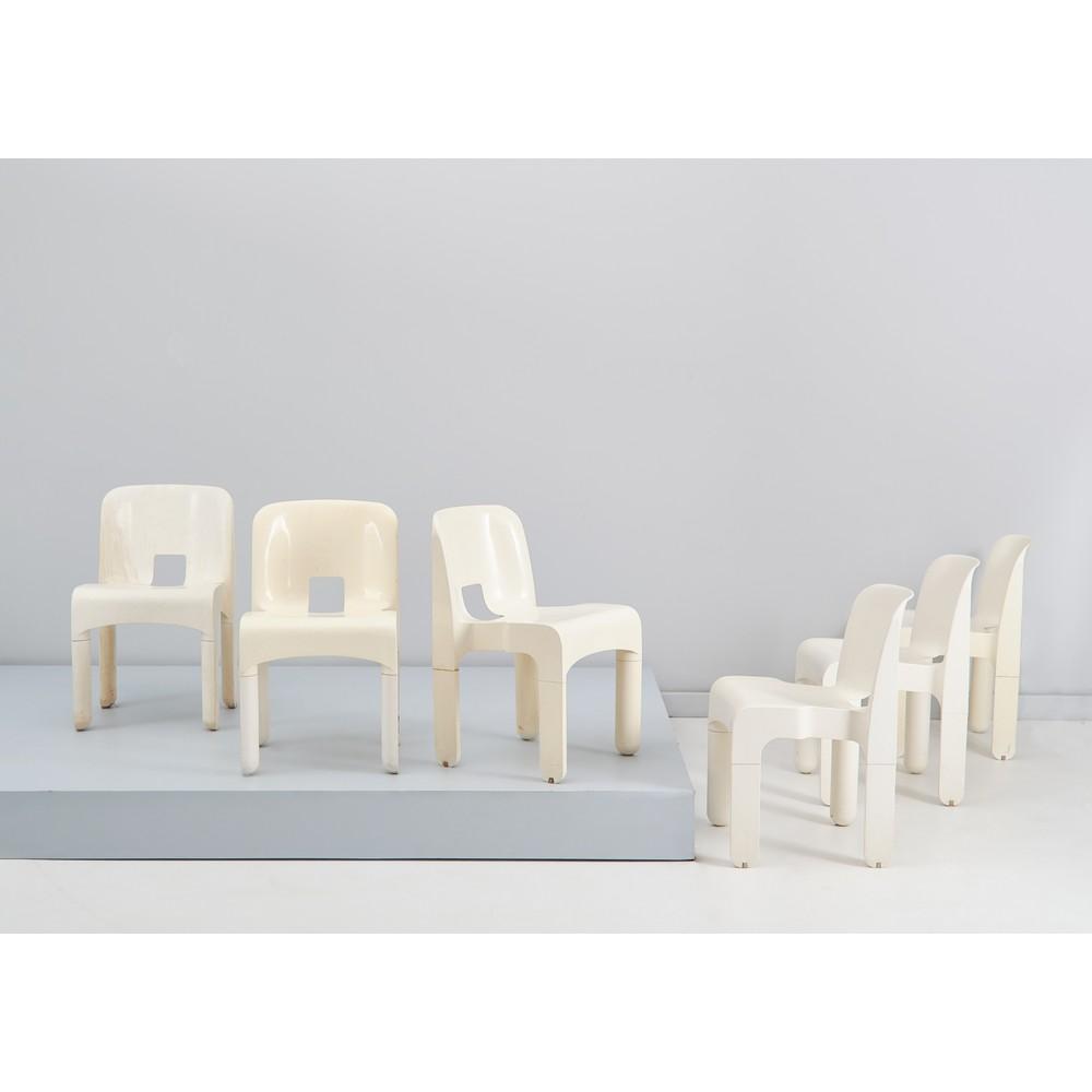 JOE COLOMBO Sei sedie in plastica bianca