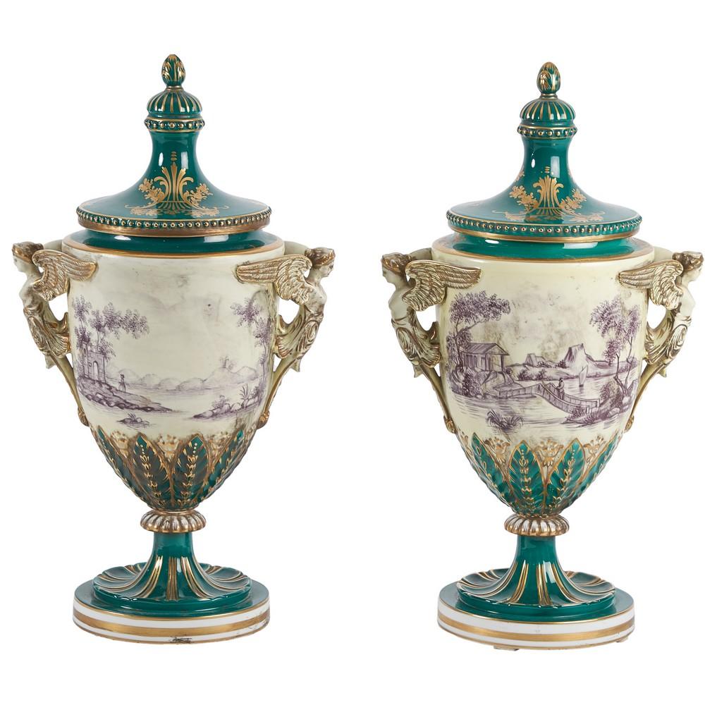 COPPIA VASI con coperchio in porcellana Dresden