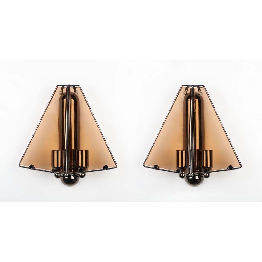PRODUZIONE ITALIANA ANNI '70 Coppia lampade da parete