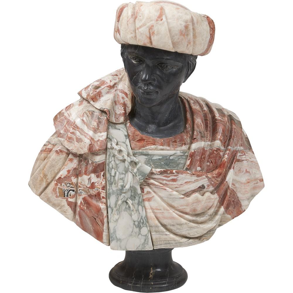 SCULTURA in marmo rosso venato e nero belga