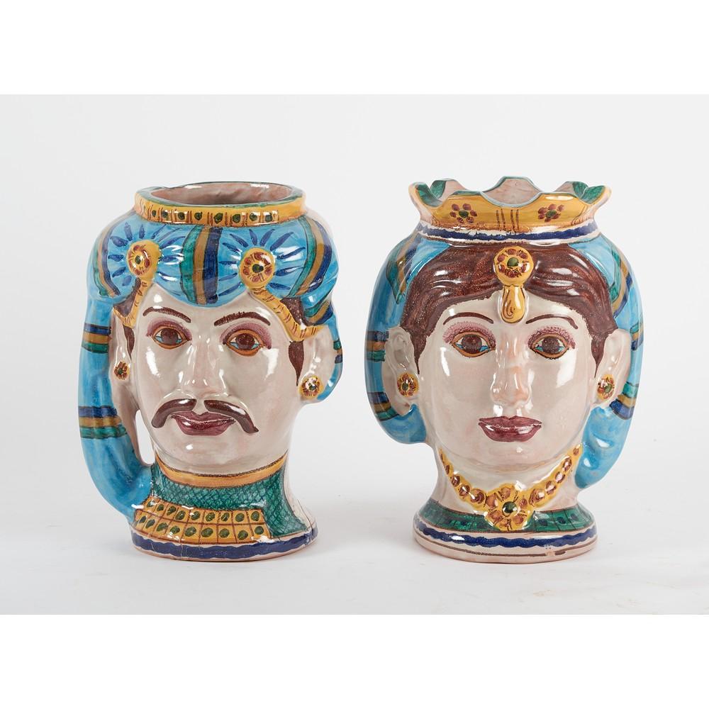 COPPIA DI FIORIERE in ceramica smaltata