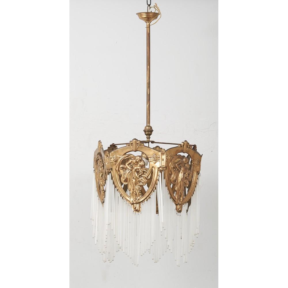 LAMPADARIO Liberty in metallo dorato e cannucce in vetro