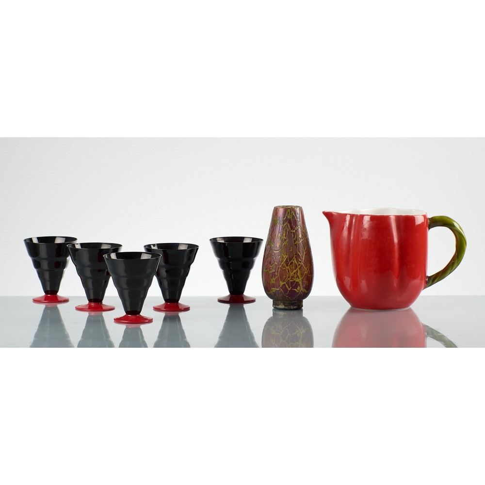 N. MARTINUZZI E MAESTRI MURANESI 5 Bicchieri,vaso,brocca,