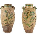 DUE CONTENITORI in ceramica smaltata