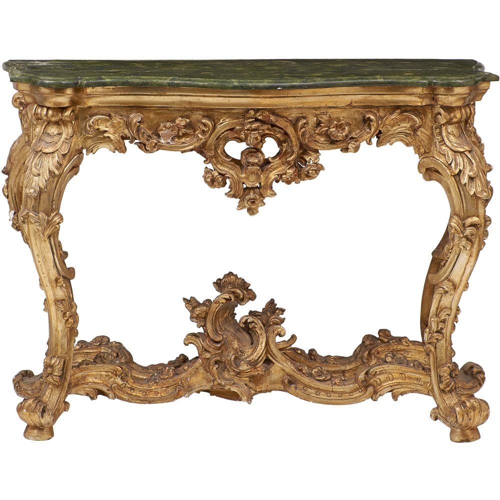 CONSOLLE di gusto barocco in legno dorato