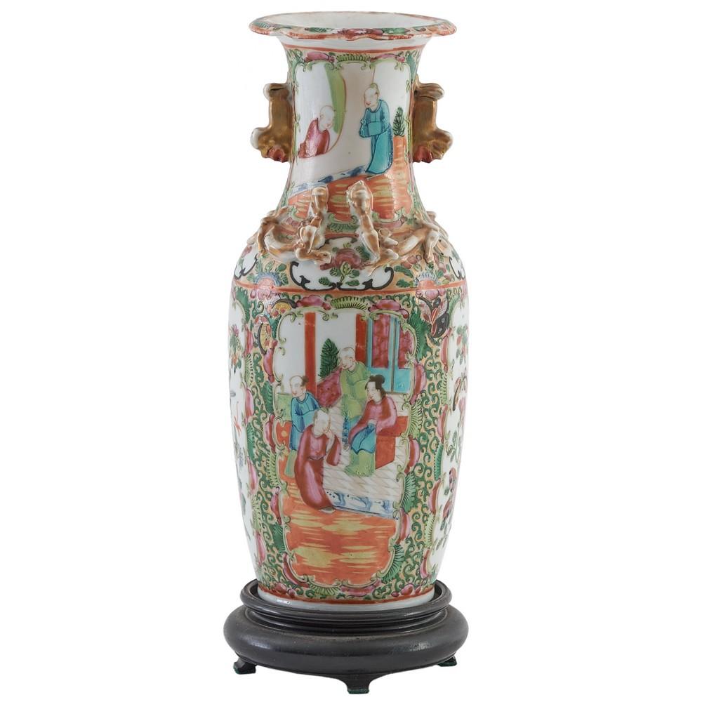 VASETTO in porcellana decorata con base in legno (usure)