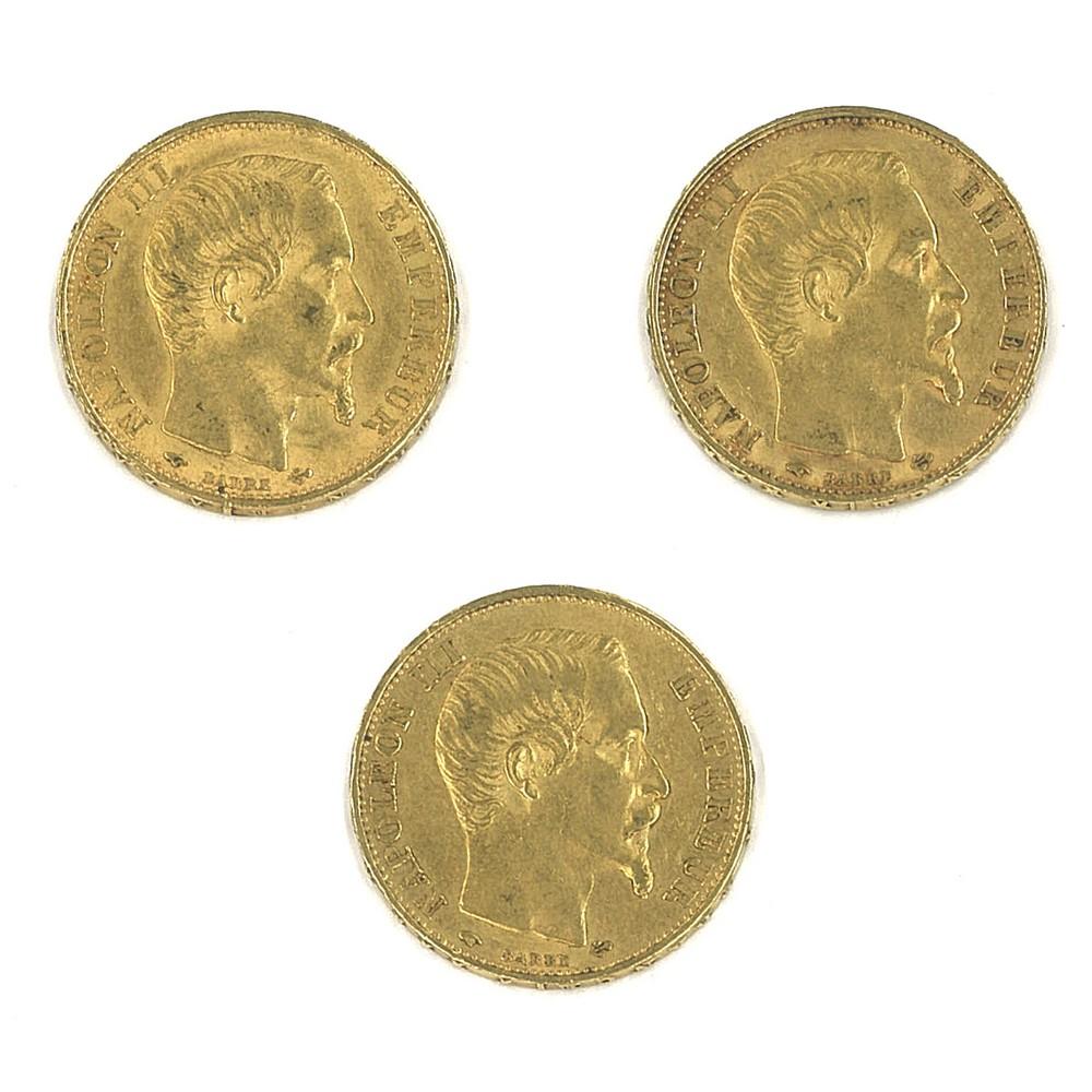 FRANCIA - 1856/57/60 20 Franchi oro