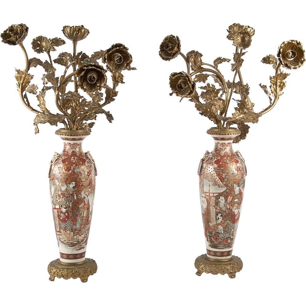 COPPIA VASI trasformati a lampade in ceramica Satsuma