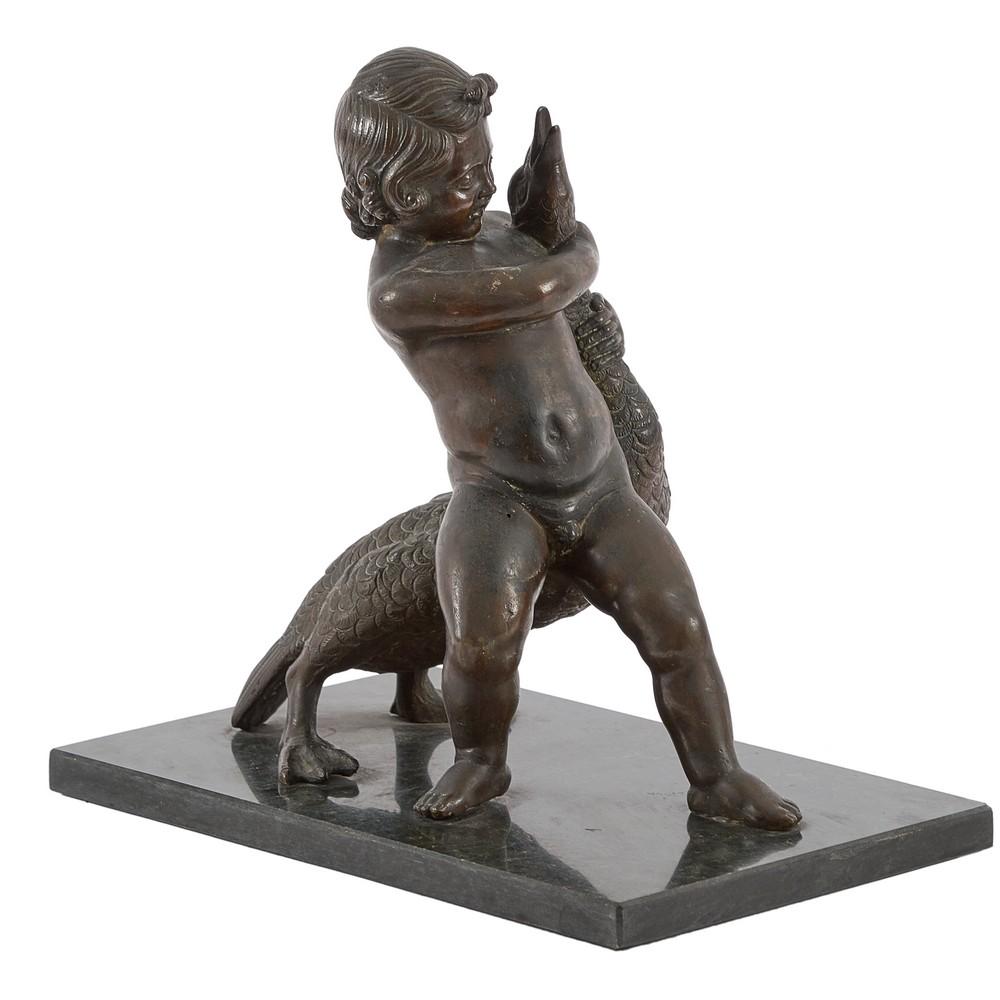 """SCULTURA in bronzo """"Bimbo con cigno"""" in marmo"""