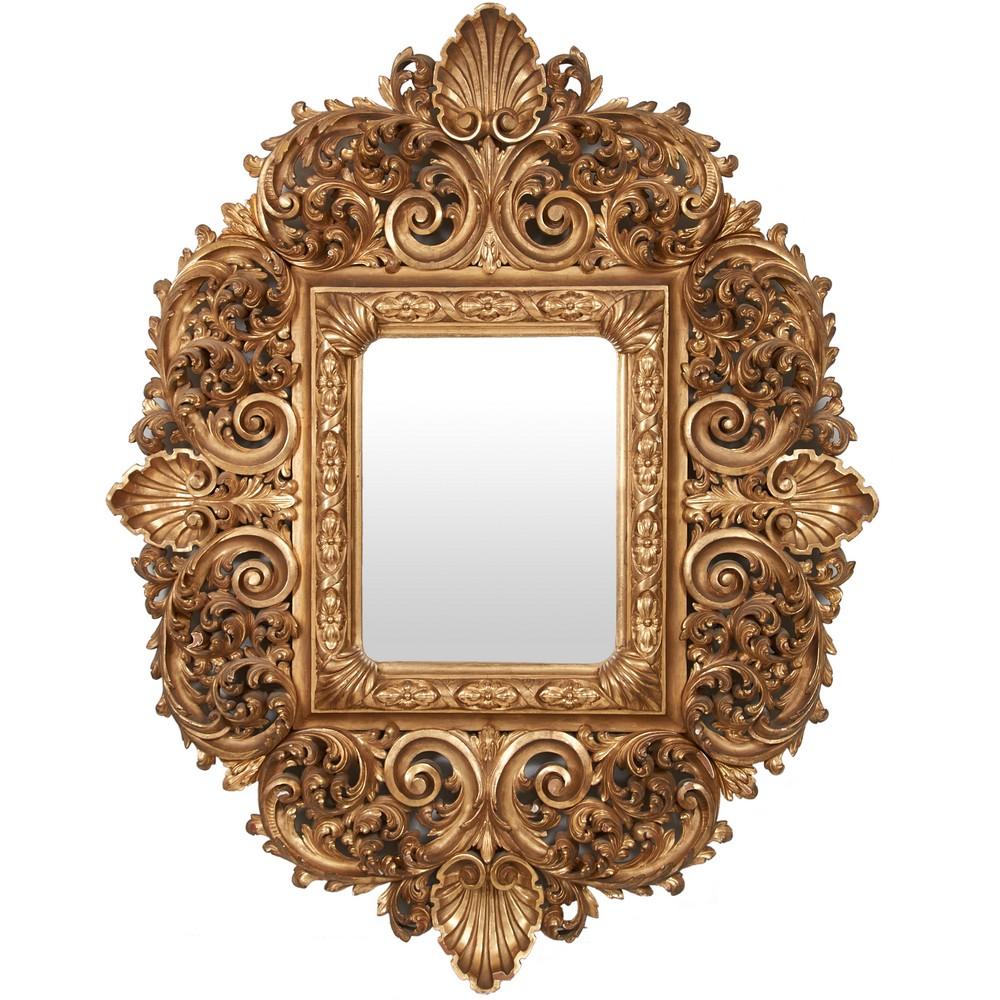 SPECCHIERA di gusto barocco in legno dorato