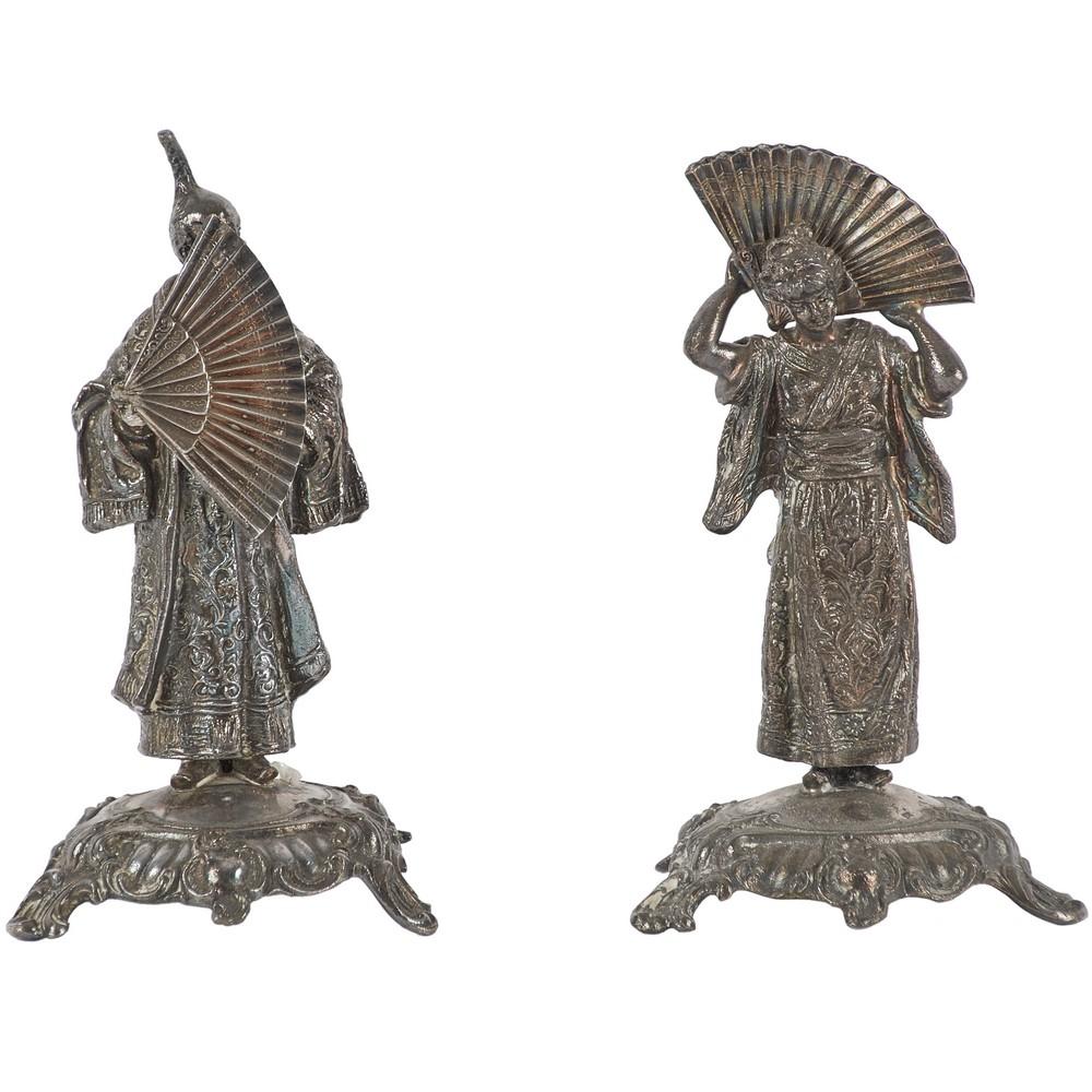 """COPPIA SCULTURINE in metallo raffiguranti """"Figure"""""""