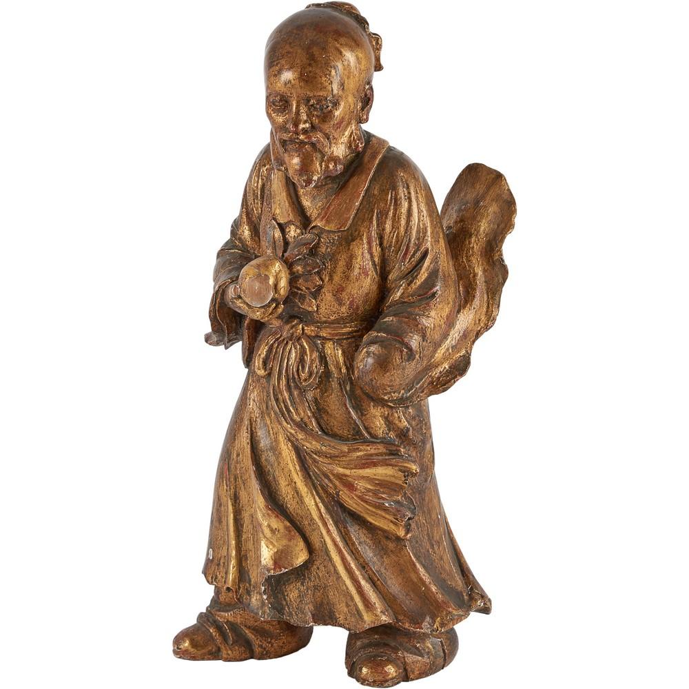"""SCULTURA in legno dorato raffigurante """"Saggio"""""""