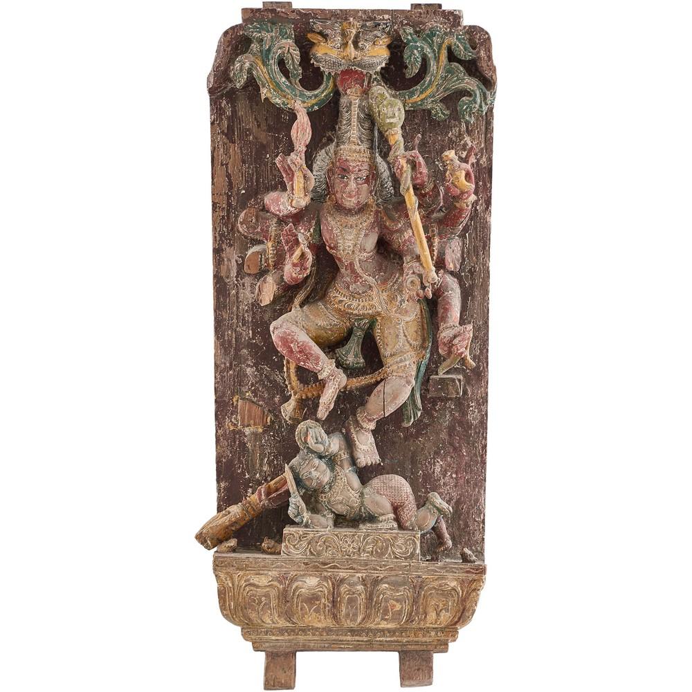 """SCULTURA in legno raffigurante """"Divinità orientale"""""""