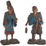 COPPIA SCULTURE in legno laccato e decorato