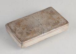 Silberne Tabakdose, 833/000, rechteckiges Modell mit einer eingravierten Darstellung eines Pferdes
