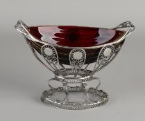 Silver sugar bowl with red glass