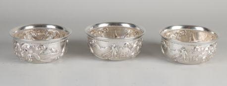 3 silver bowls