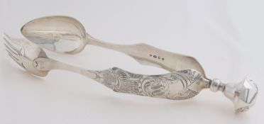 Silver snake tongs, 1847