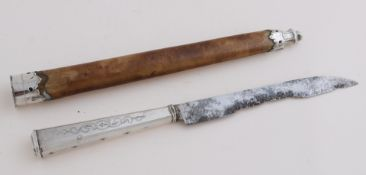 Travel knife in sheath with silver