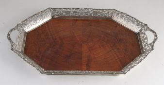 Tray with silver rim