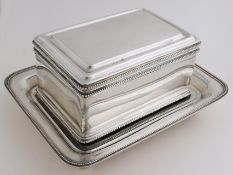 Silver biscuit tin, with saucer, 1871