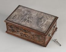 Frisian carved box with silverware