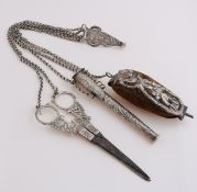 Silver chatelaine with scissors, etc.