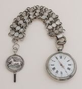 Silver men's watch with chatelaine