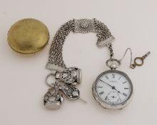 Silver men's watch etc.