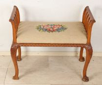 Walnut bench with petit point upholstery