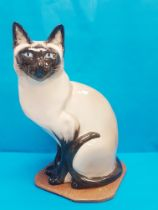 Rare Vintage 1960s Seneshall Pottery Seated Persian Cat, approximately 15 inches in height