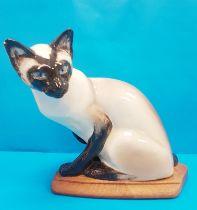 Rare Vintage 1960s Seneshall Pottery Seated Persian Cat