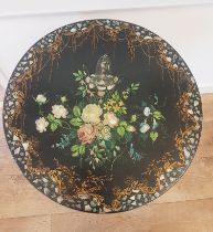 Georgian Tilt Top Table with Floral Decoration and Mother of Pearl Inserts