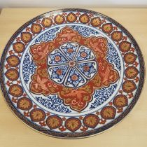 Large Japanese Imari Charger with gold and blue dragon decoration. 18 inches in diameter.