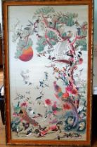 Large Framed Chinese Embroidered Silk Panel