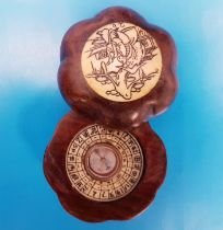 Small Chinese Compass in wood and bone surround, with slide opening