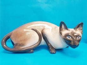 Rare Vintage 1960s Seneshall Crouching Persian Cat